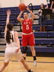 SJCC's Brooke Casperson cans a 3-pointer in the second quarter against New Riegel.