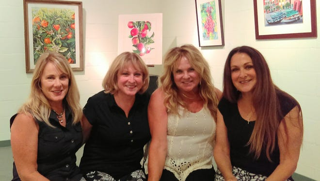 """At the reception for their """"Sisters"""" show at the Exeter Courthouse Gallery are Lana Shepherd, Lori Caccamo, Lynn Ramires and Lisa Baker."""