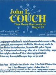 Copy of the business card John Couch had printed for