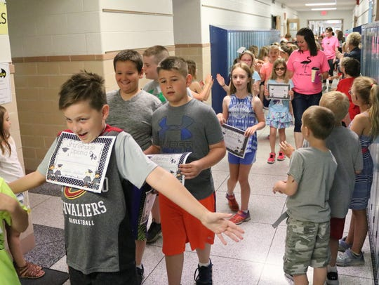 Third graders at R.C. Waters Elementary School get