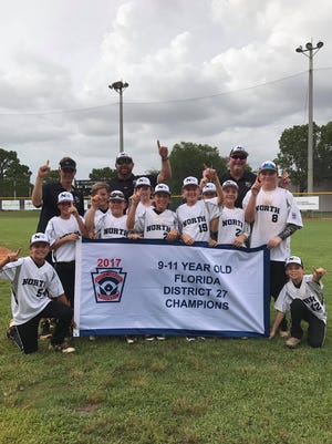 The North Naples 9-12 Little League squad recently won the District 27 championship, beating Greater Naples in a best-of-three championship series two games to none. North Naples advances to the sectional round, which will take place the weekend after July 4 in San Carlos Park.