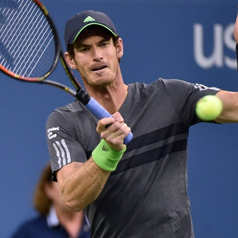 Andy Murray hits to Matthias Bachinger on day four
