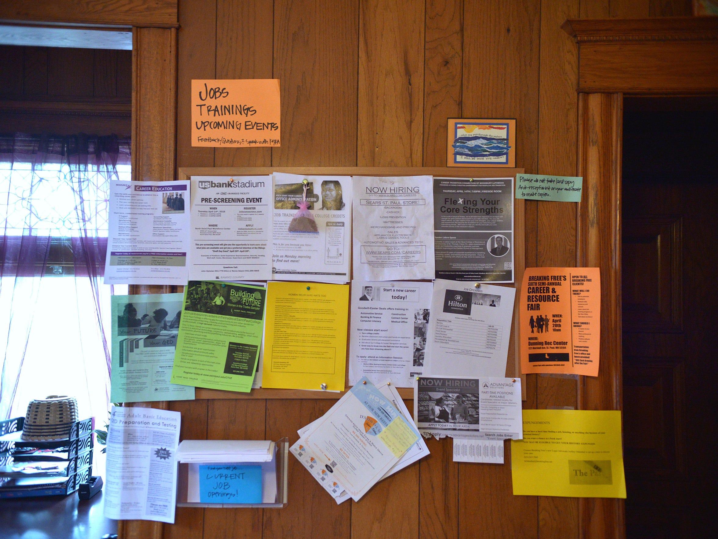 A bulletin board at Breaking Free in St. Paul lists