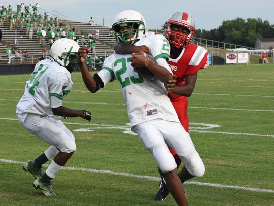 Bossier vs Plain Dealing football action at the 64th