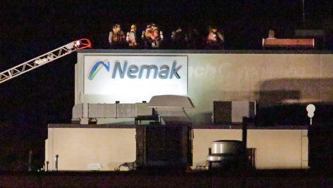Firefighters from several area departments responded to a roof fire at Nemak that was reported, Friday, January 12, 2018, in Sheboygan, Wis. Nemak produces die-cast automotive powertrain and engine components.