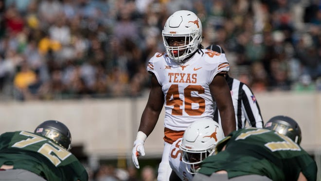 Texas Longhorns linebacker Malik Jefferson (46) in action during the game against the Baylor Bears at McLane Stadium.