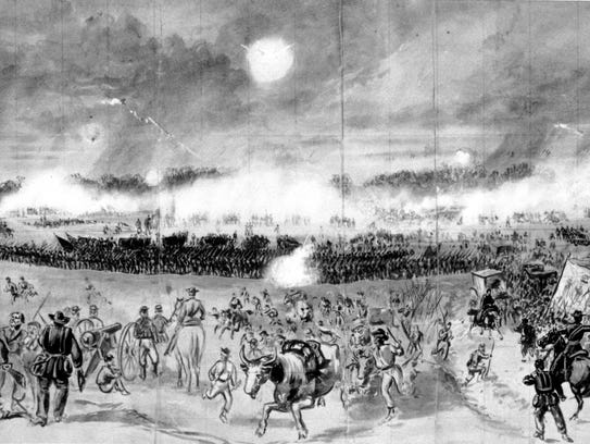 This drawing from the Civil War shows action at the