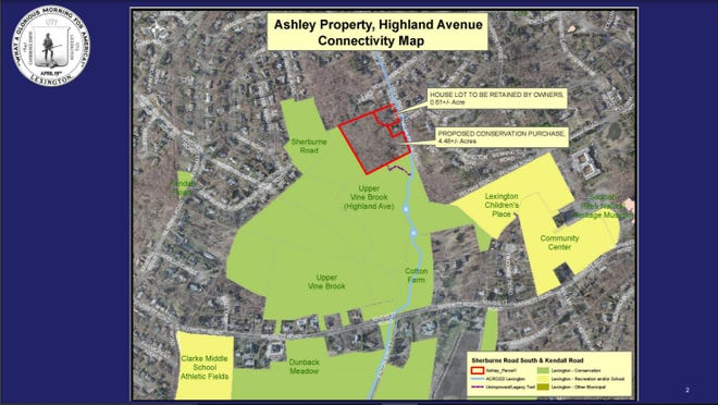 This slide from the Town Meeting presentation shows the Ashley Property outlined in red. Members apporved the purchase of this land for conservation purposes.