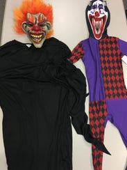 A pair of 'creepy clown' costumes, taken into evidence