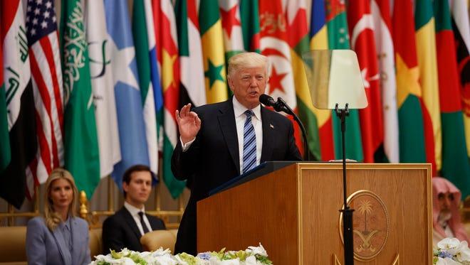 President Trump delivers a speech to the Arab Islamic American Summit on May 21, 2017, in Riyadh, Saudi Arabia.