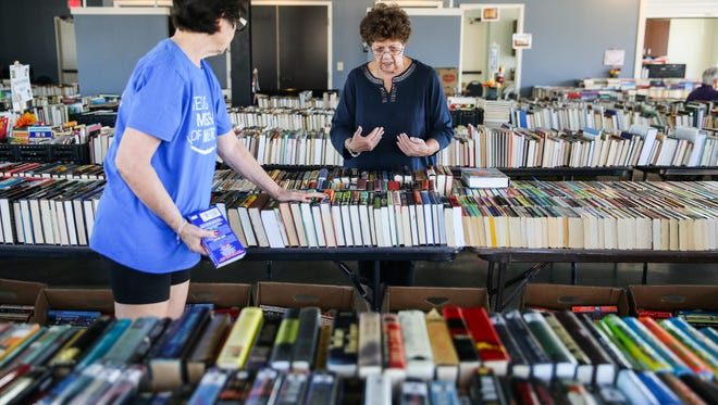 Mollye Swirsky and Linda Knightstep organize the books for the Best Little Book Sale in Texas Thursday, Oct. 26, 2017, at 511 N. Chadbourne St. in San Angelo.
