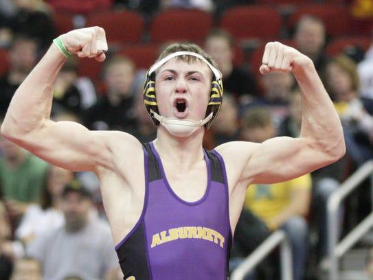 2011: Alburnett's Tyler Shulista celebrates winning