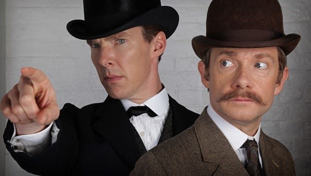 """The characters of Sherlock Holmes (Benedict Cumberbatch, left) and Dr. John Watson (Martin Freeman) are transposed to Victorian England in PBS' upcoming """"Sherlock"""" special."""