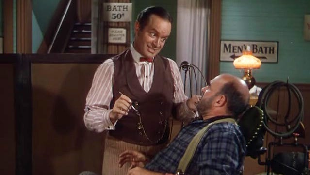 """Bob Hope starred as dentist """"Painless"""" Peter Potter in the 1948 film """"The Paleface."""""""
