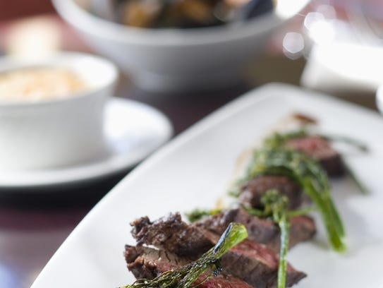 Hanger steak with broccolini and scalloped potatoes