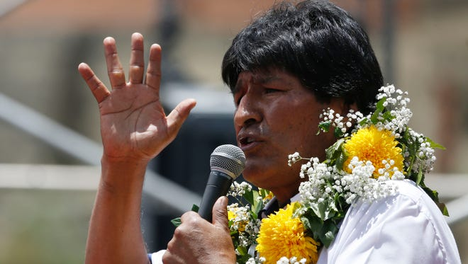 """Bolivia's President Evo Morales speaks during the the """"Yes"""" closing campaign rally, in El Alto, Bolivia, Feb. 17, 2016."""