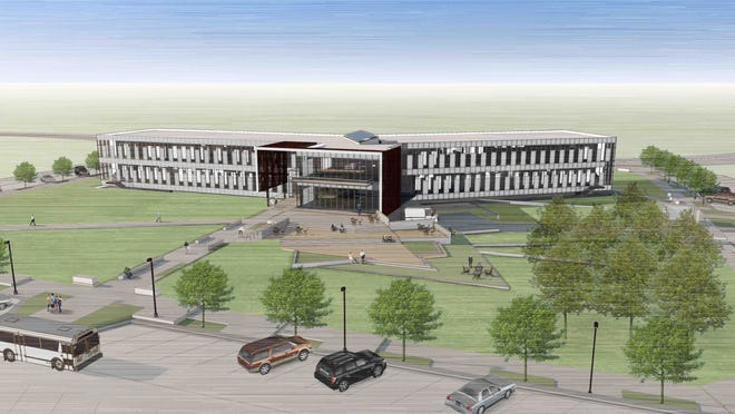 A September 2014 rendering of Iowa State University's new economic development building.