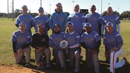 The Olympian Athletics senior slow pitch softball team placed second in the SSUSA Tournament of Championships recently in Florida. Team members included, front row, left to right, Joe Loguori, Doug Hartzok, Mark Iorio, Carmen Loiacono, Keith Doleman and Pat Daley, and back row, Randy Brookens, Roy Pittman, Shaun Young, Dane Anthony, Bruce Davis and Mike Keenan.