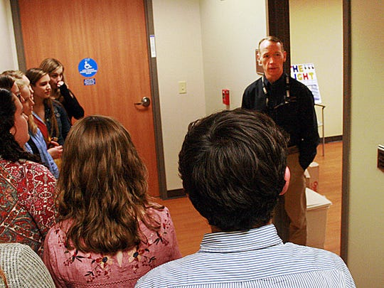 Students from Central Magnet School speak with Paul Beck, a radiology engineer at Saint Thomas Rutherford Hospital.