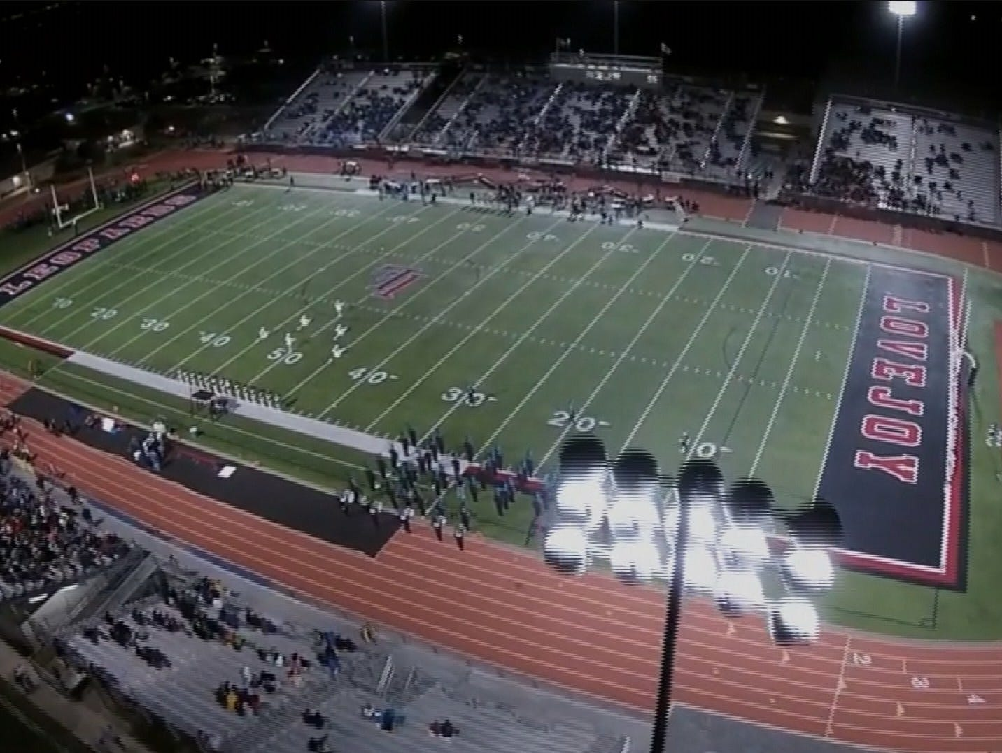 Drone video captured at Lovejoy's football stadium.