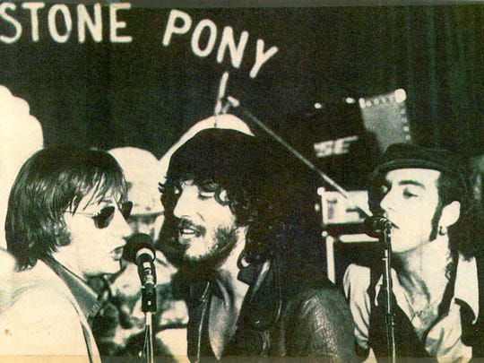 "Southside Johnny Lyon (l), Bruce Springsteen and Steve Van Zandt singing ""Havin' a Party"" at The Stone Pony, May 30, 1976."