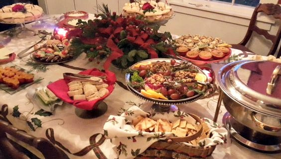 This home party catered by Tasteful Connections has a variety of hot and cold items.