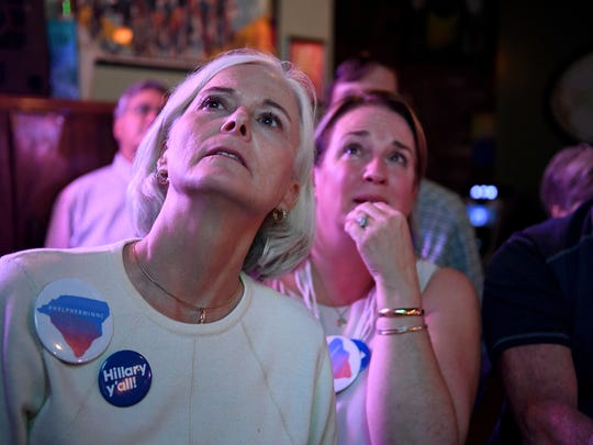Diane Smock, left, and Michelle Shain, who started the Democratic grassroots group #helpherinnc watch the presidential election results at Chicora Alley on Tuesday, November 8, 2016.