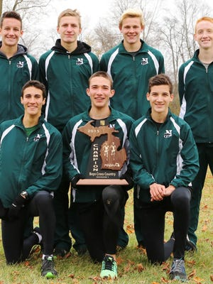 Members of Novi's Division 1 regional championship team include (front row, from left) Scott MacPherson, Joost Plaetinck, John Landy; (back row, from left) Aric Landy, Gabe Mudel, Scott Sawyer and Adam Ditri.