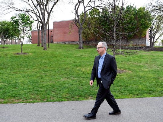 Mayor David Briley walks to work from his home in Nashville to his office at Public Square on April 6.