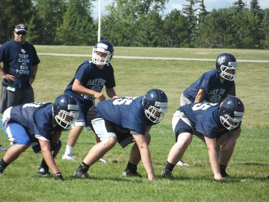 Bay Port senior Cole Van Lanen, center, received the No. 6 play in the nation by 247Sports.com for his pancake block last week in a 21-14 season-opening victory at Green Bay Preble.