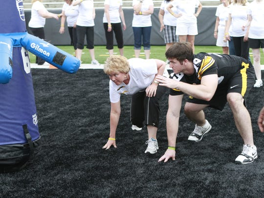 A file photo from the first Iowa Ladies Football Academy event in 2011. The sixth annual day in the life of a Hawkeye (for women only) is June 4, 2016.