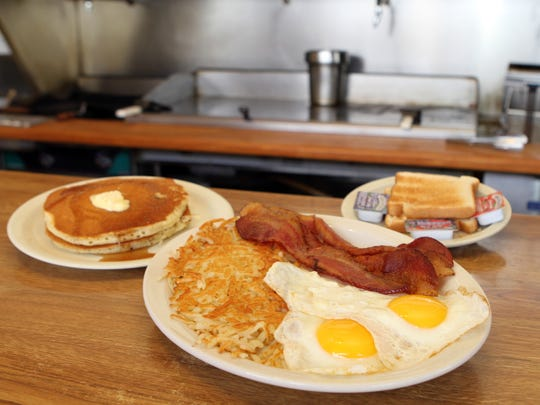 Rudy's Diner's famous Big Breakfast with a side of