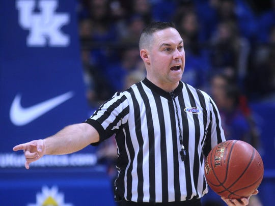 Ninth Region official Tony Pompilio worked the day's first game, a showdown between the top two teams in the state: Bowling Green defeated Scott County 68-53 during Scott's KHSAA Sweet 16 boys basketball state quarterfinal vs. Perry County Central March 17, 2017 at Rupp Arena in Lexington KY.