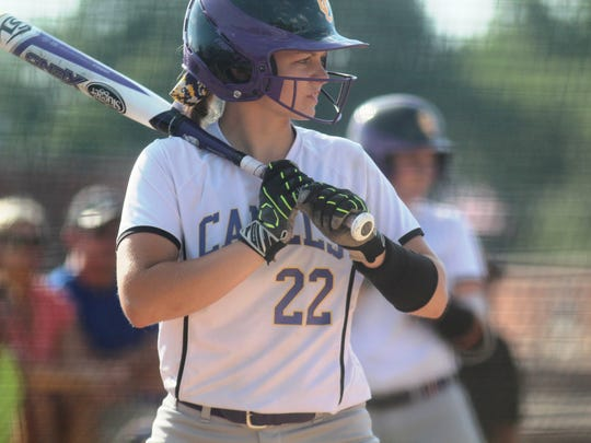 Campbell County's Jessica Walsh eyes the pitcher in 2017 10th Region final action.