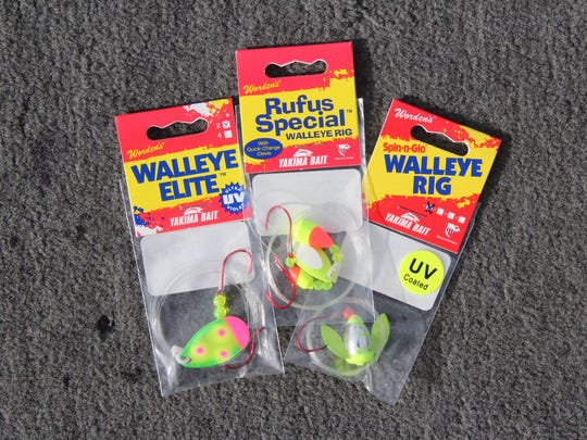 Nightcrawler harness rigs that include blades, beads, floats and spinners are effective walleye presentations.