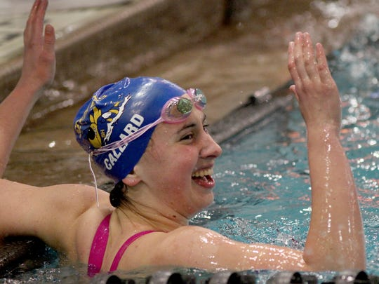 Lucy Callard of Seven Hills wins the 500 freestyle at the state swimming championship's in Canton. Lucy Callard Seven Hills win the Girls 500 yard freestyle at the State Swimming Championship's in Canton Ohio, Friday, Feb. 24,2017.