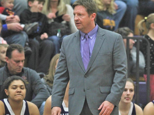Campbell County head coach Beau Menefee during a girls basketball game pairing Alexandria rivals Campbell County and Bishop Brossart Jan. 5, 2018 at Campbell County Middle School. Campbell County won 67-18.