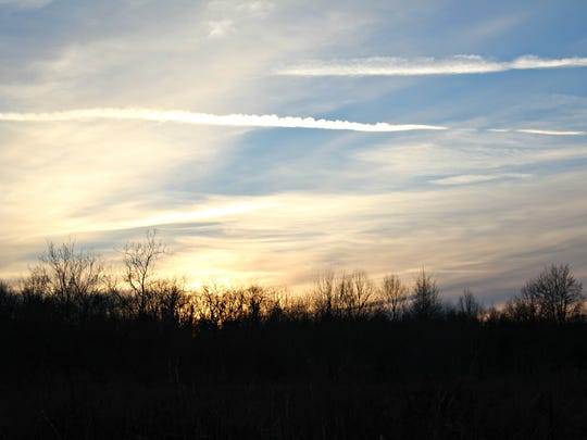 The evening sky at East Fork State Park, just before