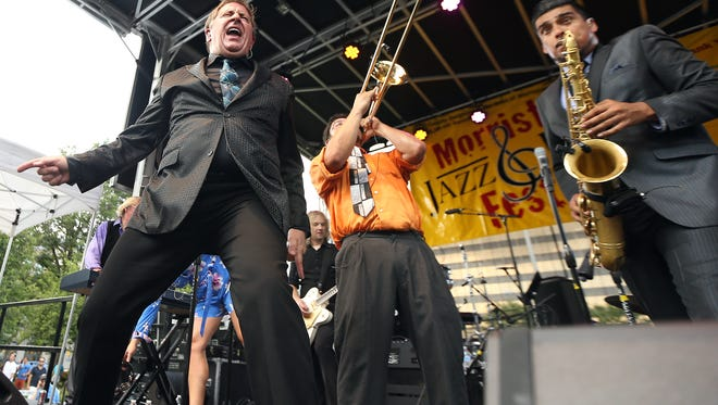 Louis Prima Jr. and the Witnesses perform during the 6th annual Morristown Jazz and Blues Festival on the historic Morristown Green. August 20, 2016, Morristown, NJ