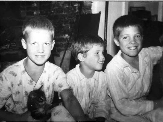 A young Peter Courtney, left, with his two brothers,