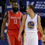 Golden State Warriors guard Stephen Curry and Houston Rockets guard James Harden (13) are two of the overreactions to the NBA season so far.