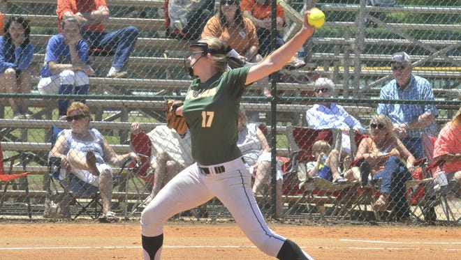 Morgan Brown winds up for a pitch. Edgewood takes on Marengo Academy on Friday, May 1, 2015, in the AISA State Softball Tournament at Lagoon Park in Montgomery.