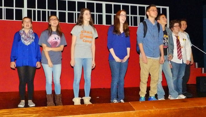 "(From left) Leigha Burnley, Sydnie DeRosa, Courtney Ricci, Alison Burke, Ryan Nichols, Johnny Keen, Max Tucker and Donny Yamasaki, students in Cumberland Regional High School's Drama Guild, rehearse a scene from ""Makin' It."""
