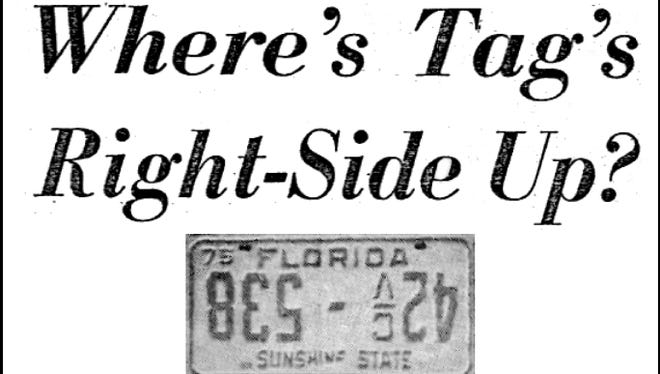 The unique official Florida license tag in 1974-75 for a Luckhardt company truck.