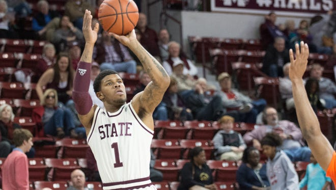 Lamar Peters makes a 3-pointer for Mississippi State during its game against UT Martin.