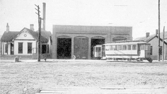 """The Henderson Traction Company's streetcar barn on South Main Street as it appeared in the Henderson Commercial Club's 1911 publication, """"Illustrated Henderson."""""""