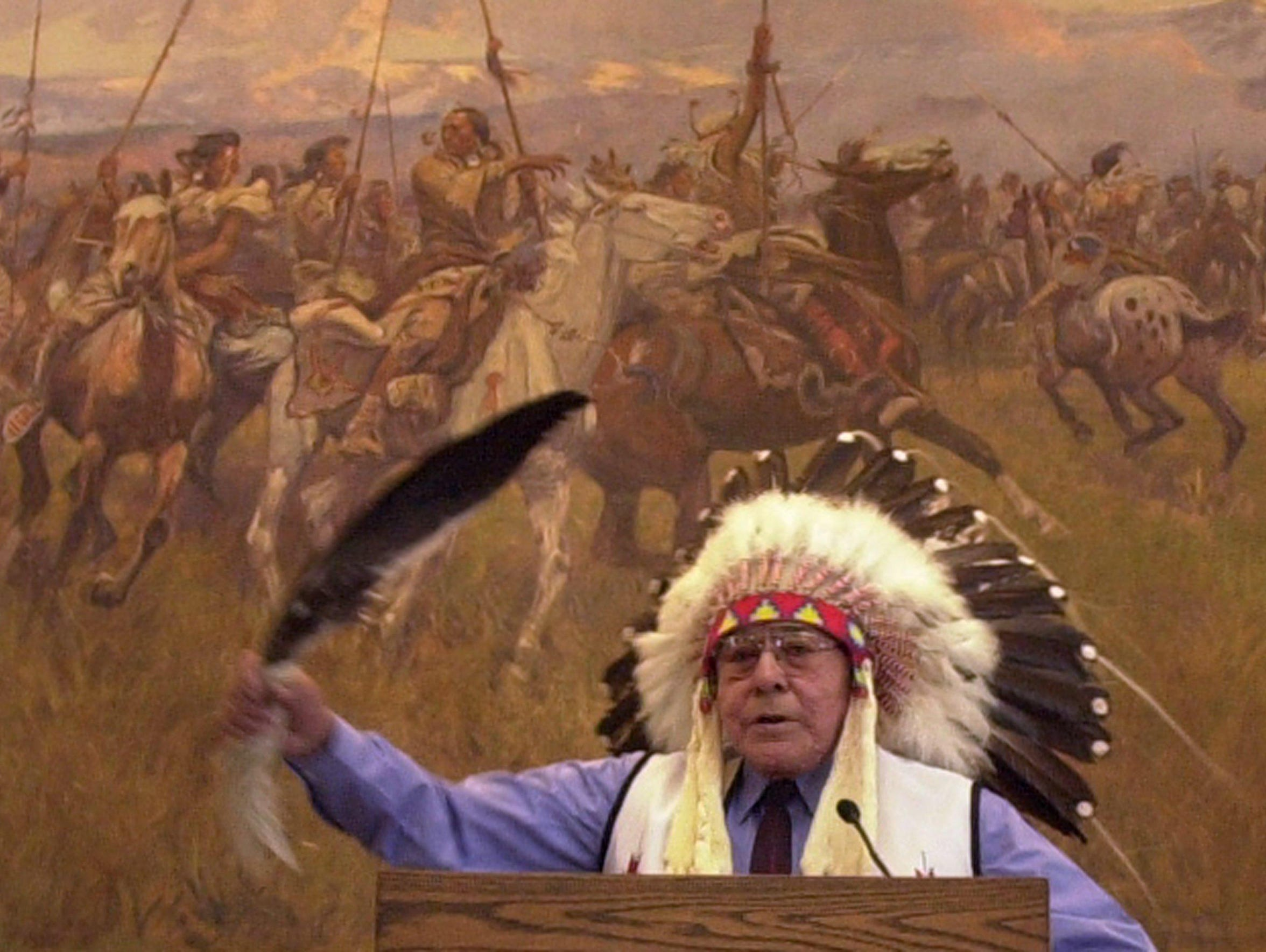 Earl Old Person addresses a joint session of the Montana