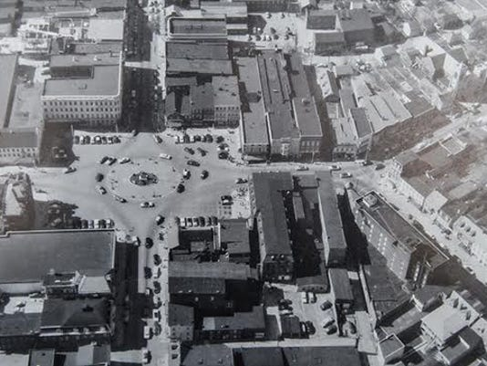 An aerial view of Hanover's Center Sqaure from the 1950s is seen in this image courtesy of the Hanover Area Historical Society.