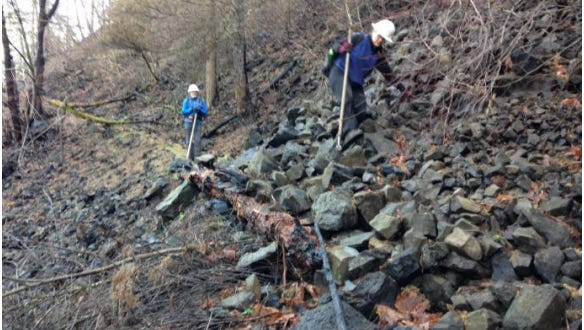 Damage to Wahkeena Trail in the Columbia River Gorge from the Eagle Creek Fire.