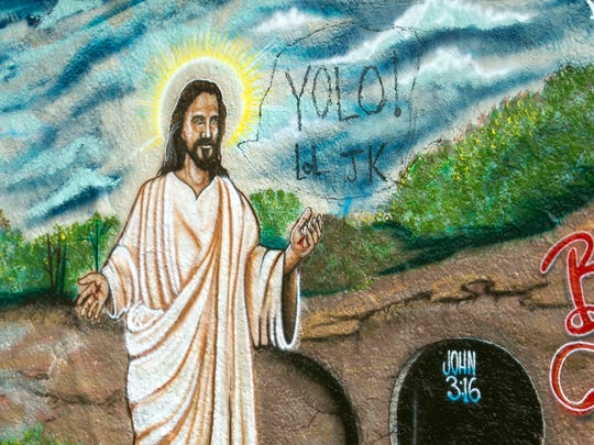 A depiction of Jesus was painted on the 17th Ave. railroad